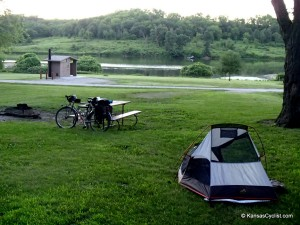 Campsite at Atchison State Fishing Lake; Photo by KansasCyclist.com.